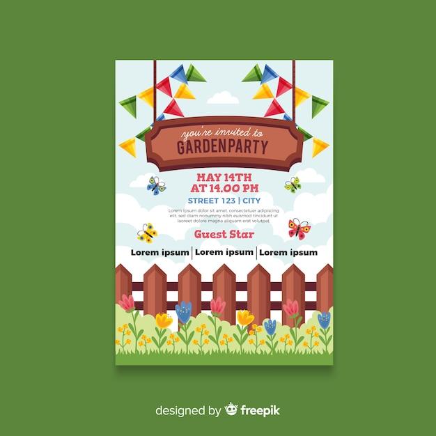 Affiche de fête de printemps de clôture de bois Vecteur gratuit