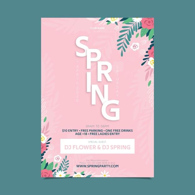 Affiche De Fête De Printemps Design Plat Floral Rose Vecteur gratuit