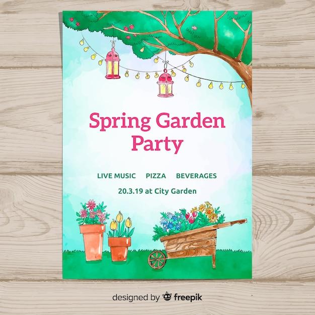 Affiche de fête de printemps jardin aquarelle Vecteur gratuit