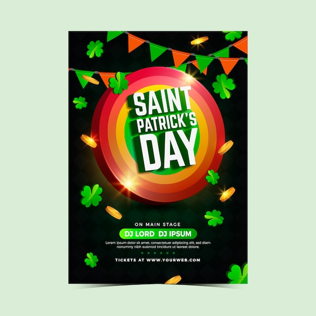 Affiche De Fête De La Saint-patrick Ou Modèle De Flyer Design Réaliste Vecteur gratuit