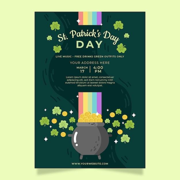 Affiche De Fête De La Saint-patrick Ou Modèle De Flyer Avec Des Trèfles Et Des Pièces Vecteur gratuit