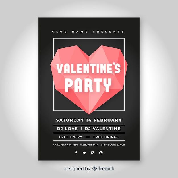 Affiche Fete Saint Valentin Coeur Origami Telecharger Des