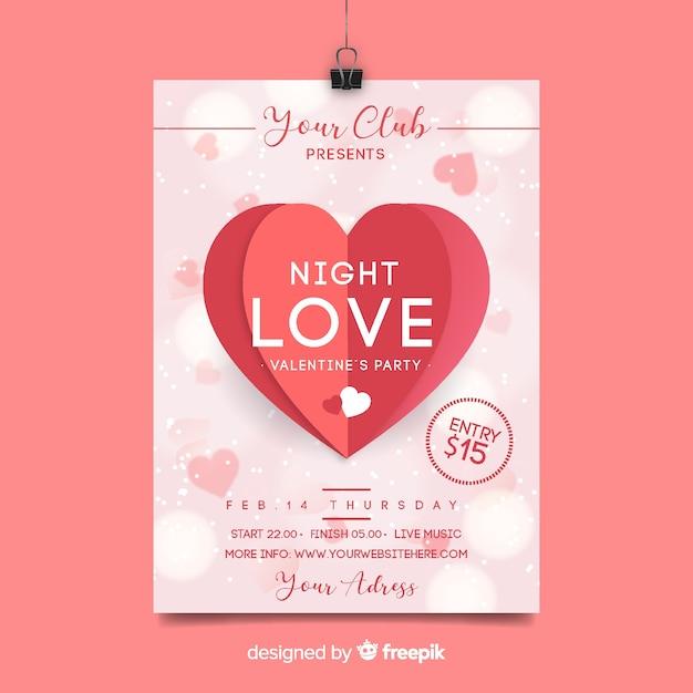Affiche fête saint valentin coeur plié Vecteur gratuit
