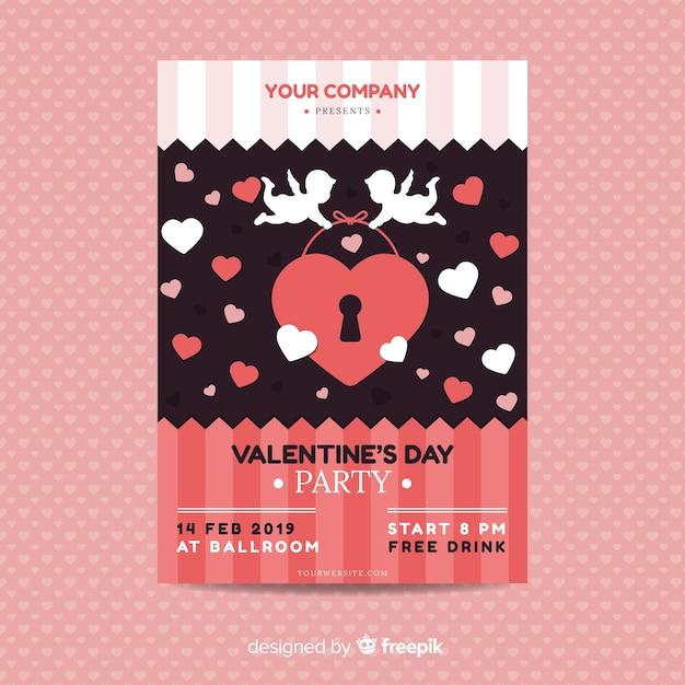 Affiche de la fête de la saint-valentin cupidon Vecteur gratuit
