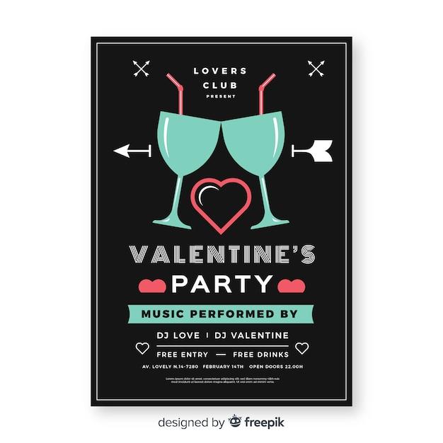 Affiche de la fête de la saint-valentin de verres plats Vecteur gratuit
