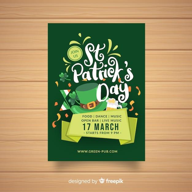 Affiche de la fête de la st patrick calligraphique Vecteur gratuit