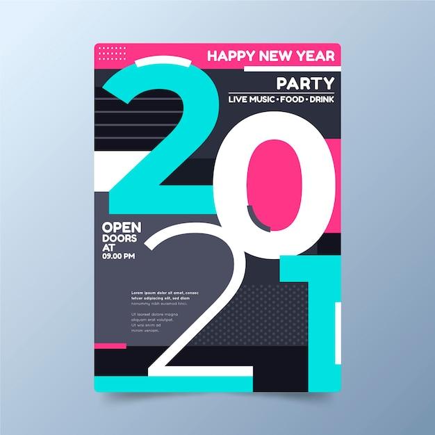 Affiche De Fête Typographique Abstraite Du Nouvel An 2021 Vecteur gratuit