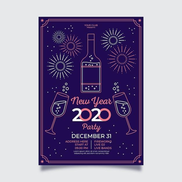 Affiche De Feux D'artifice De Nouvel An Dans Le Style De Contour Vecteur gratuit