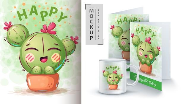 Affiche De Fleur De Cactus Et Merchandising Vecteur Premium