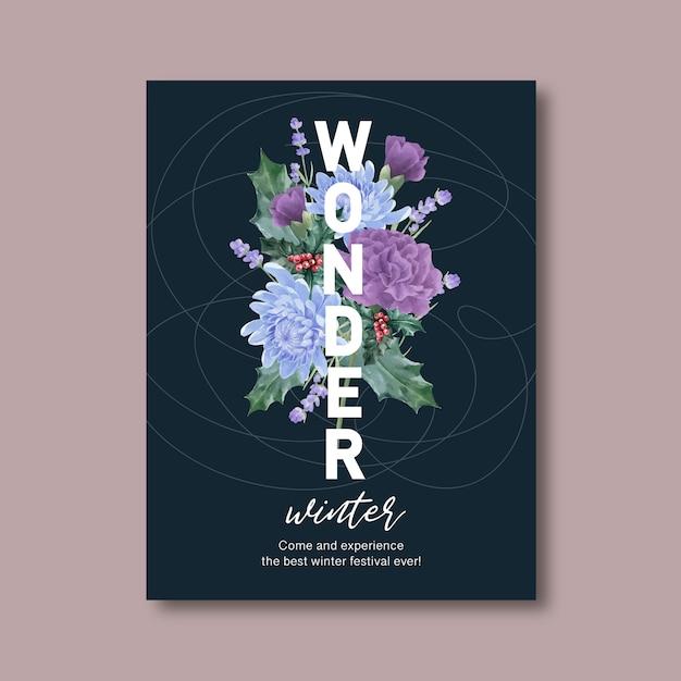 Affiche de floraison hivernale avec pivoine, chrysanthème Vecteur gratuit