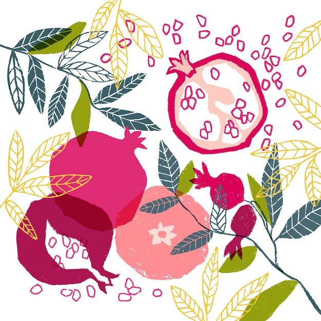 Affiche florale de vecteur peinte à la main avec la grenade Vecteur Premium