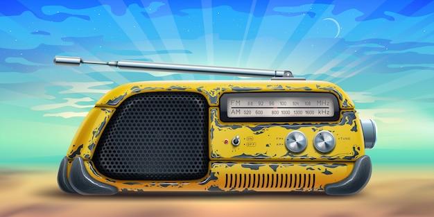 Affiche De Fond D'été Avec Récepteur Radio Jaune Sur Une Plage Au-dessus De La Mer Vecteur Premium