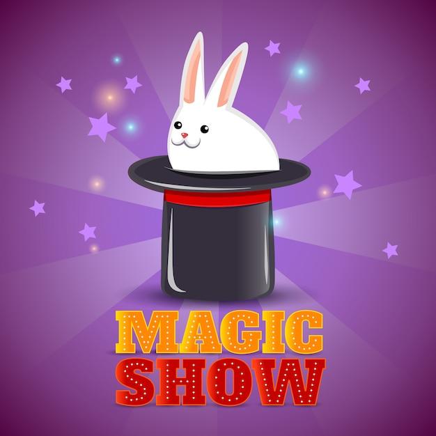 Affiche de fond spectacle de tour de chapeau magique Vecteur gratuit