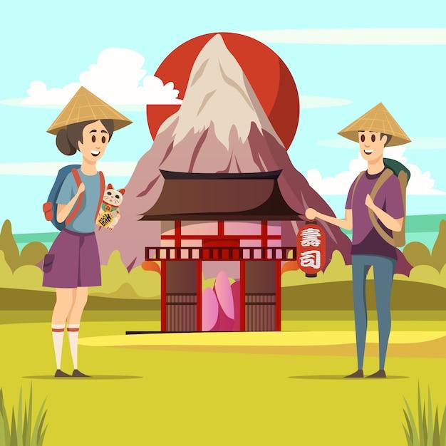 Affiche de fond de voyage touristique au japon Vecteur gratuit