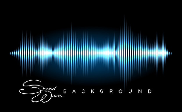 Affiche de forme d'onde audio stéréo Vecteur Premium