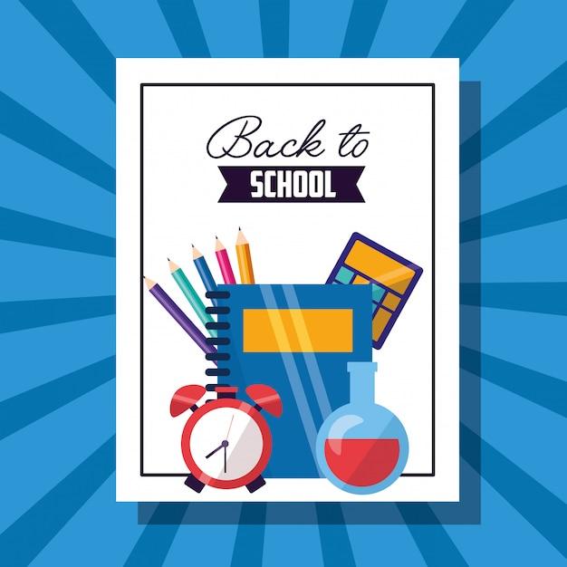 Affiche de fournitures scolaires Vecteur gratuit