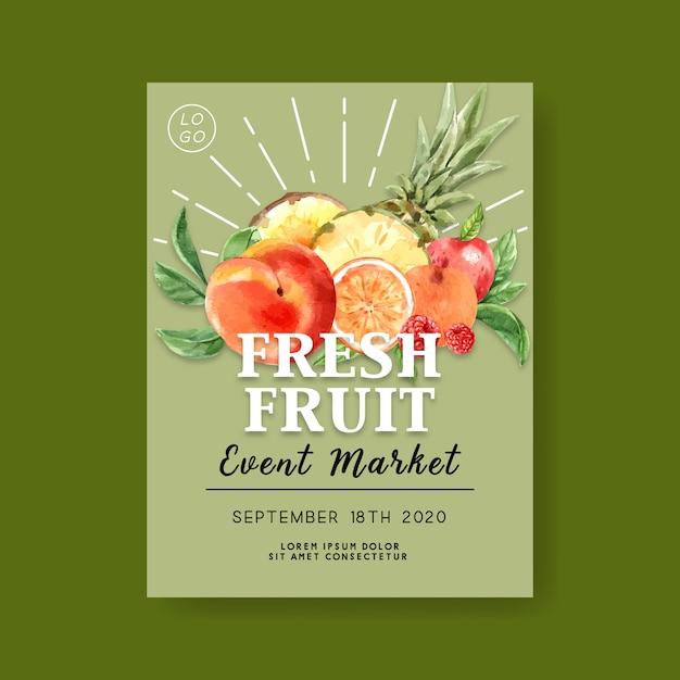 Affiche avec des fruits tropicaux, modèle illustration fond vert Vecteur gratuit