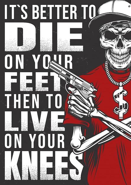 Affiche Gangsta Avec Squelette Vecteur gratuit