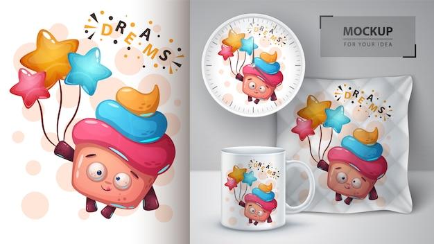 Affiche de gâteau de rêve et marchandisage Vecteur Premium