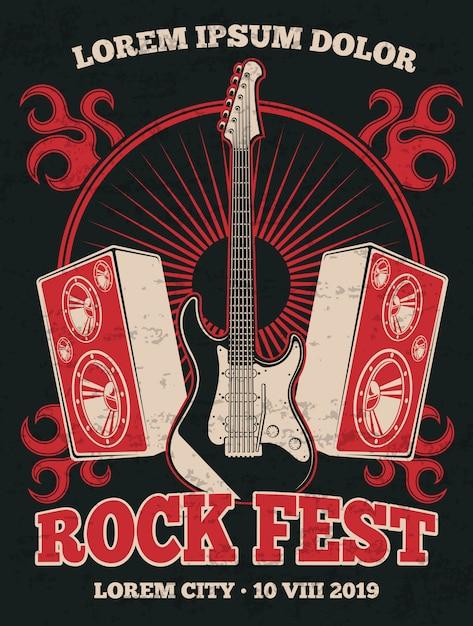 Affiche de groupe de musique rock rétro avec guitare. bannière d'illustration grunge festival de musique rock en rouge noir Vecteur Premium