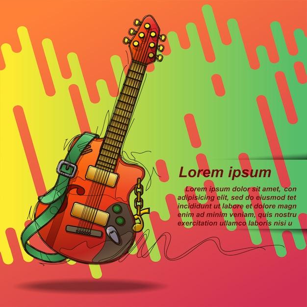 Affiche guitare en style de croquis et texte. Vecteur Premium