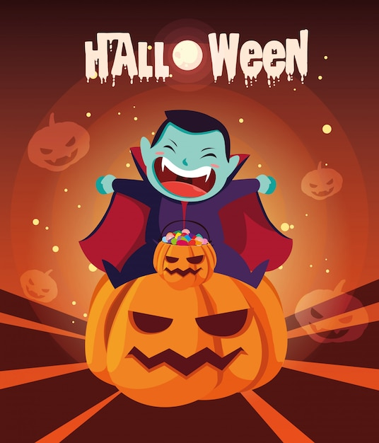 Affiche Halloween Avec Un Garçon Déguisé En Vampire Vecteur Premium