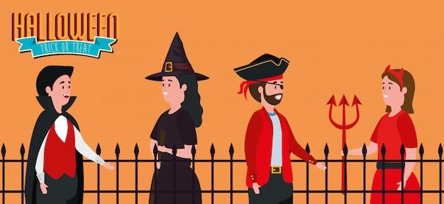 Affiche halloween avec un groupe de personnes déguisées Vecteur gratuit