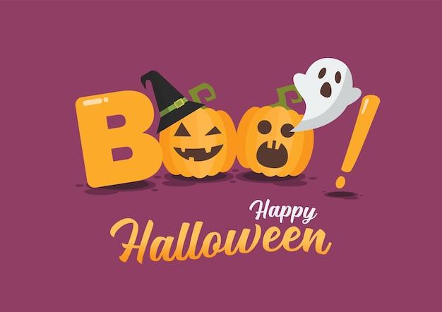 Affiche D'halloween Heureux. Halloween Pumpkins Fait Partie Du Mot Boo. Illustration Vecteur Premium