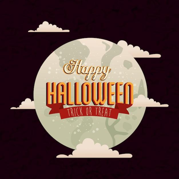 Affiche d'halloween avec lune et nuages Vecteur gratuit