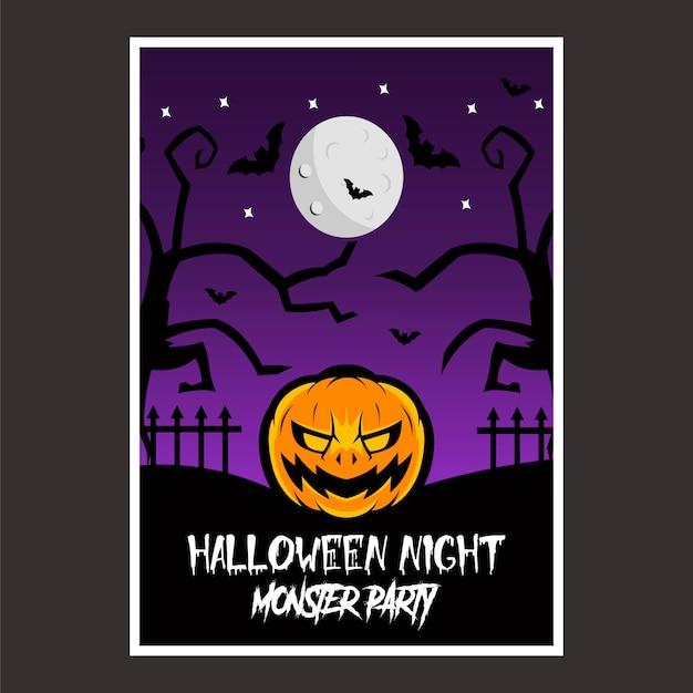Affiche halloween night Vecteur Premium