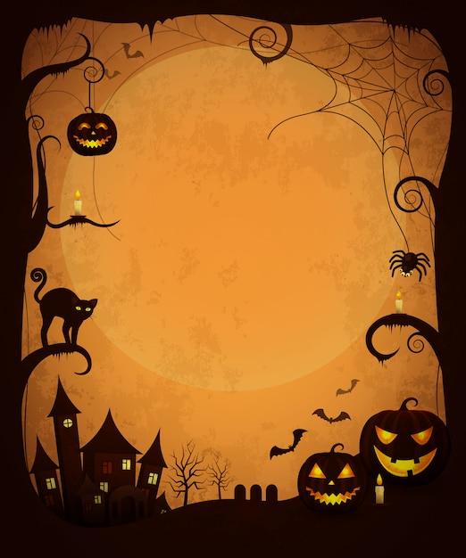 Affiche d'halloween sombre effrayant. maison hantée, citrouilles maléfiques, bougies luminescentes, chat et araignées effrayantes, chauves-souris volant et grande lune Vecteur Premium