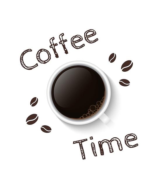 Affiche De L'heure Du Café Vecteur Premium