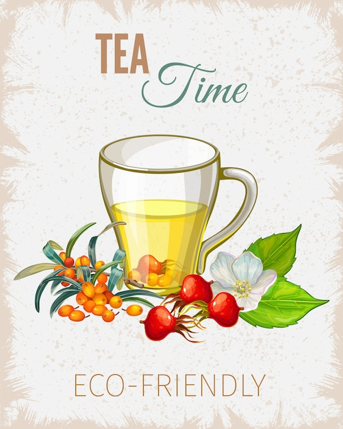 Affiche De L'heure Du Thé Avec Des Fleurs Et Des Feuilles Vecteur gratuit