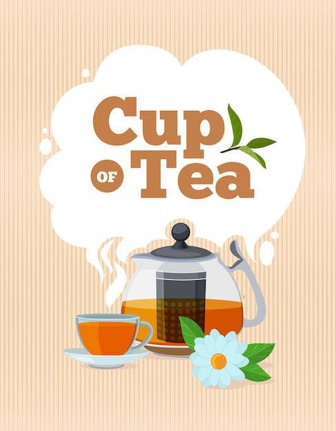 Affiche de l'heure du thé avec place pour votre texte Vecteur Premium