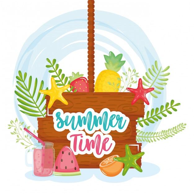 Affiche de l'heure d'été avec étiquette en bois et icônes Vecteur Premium