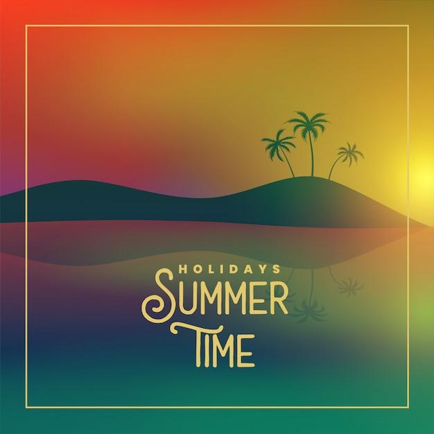 Affiche de l'heure d'été avec scène de coucher de soleil sur la plage Vecteur gratuit