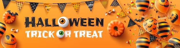 Affiche Heureuse De Tour Ou De Tour De Halloween Avec Des Ballons à Air Effrayants Et Des éléments De Halloween Vecteur Premium