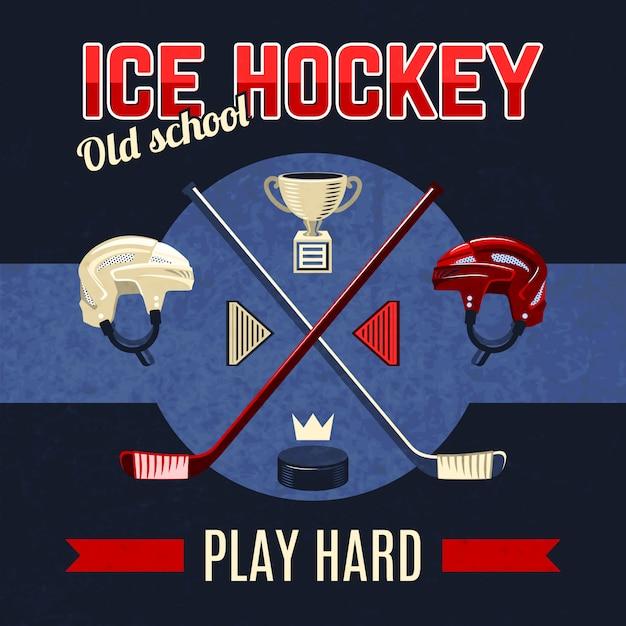 Affiche de hockey sur glace Vecteur gratuit