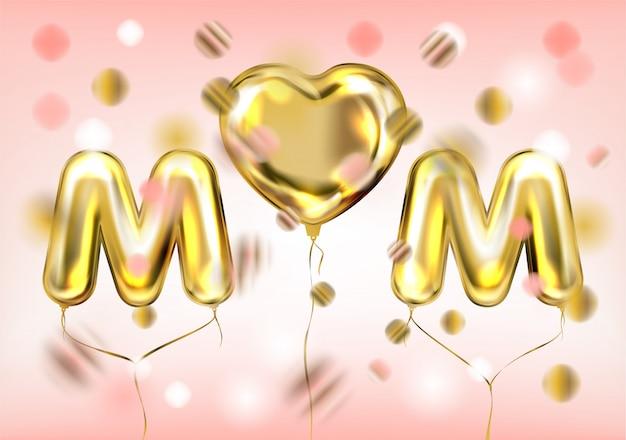 Affiche i love mom avec ballon doré Vecteur Premium