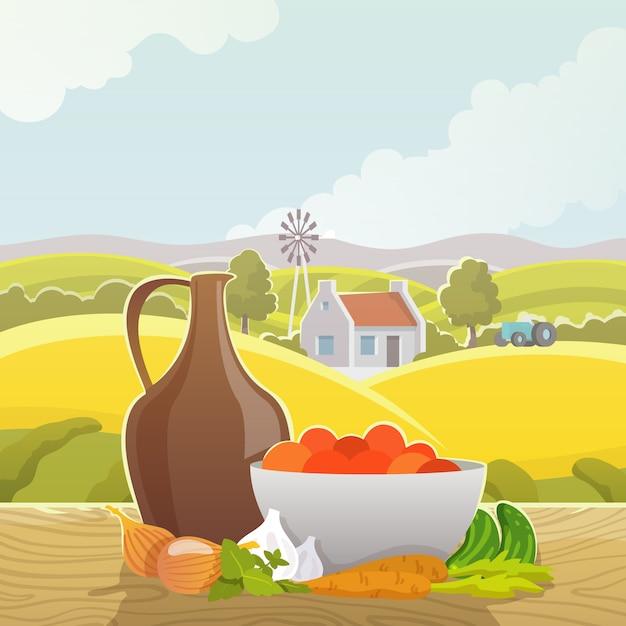 Affiche illustration abstraite paysage rural Vecteur gratuit