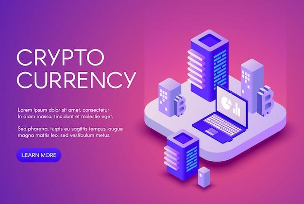 Affiche d'illustration de crypto-monnaie pour l'extraction de devises et la blockchain bitcoin crypto. Vecteur gratuit