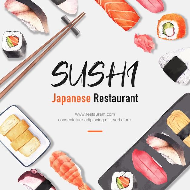 Affiche d'illustration de restaurant de sushi. d'inspiration japonaise dans un style moderne Vecteur gratuit