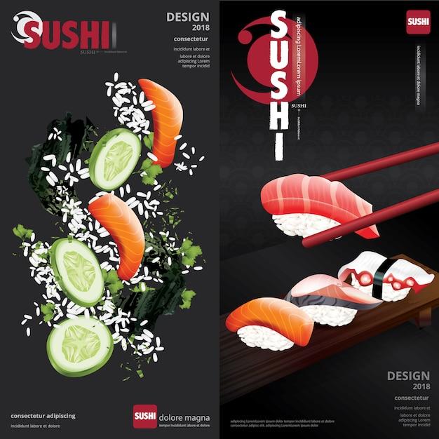 Affiche, illustration, restaurant sushi Vecteur Premium
