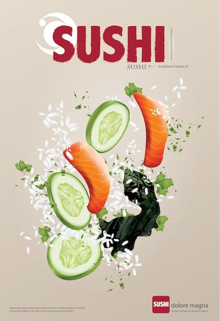 Affiche d'illustration vectorielle restaurant sushi Vecteur Premium