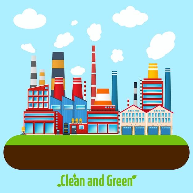 Affiche de l'industrie verte Vecteur gratuit