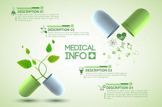 Affiche D'information Sur La Médecine Avec Illustration Réaliste De Symboles De Médicaments Et De Pharmacie Vecteur gratuit