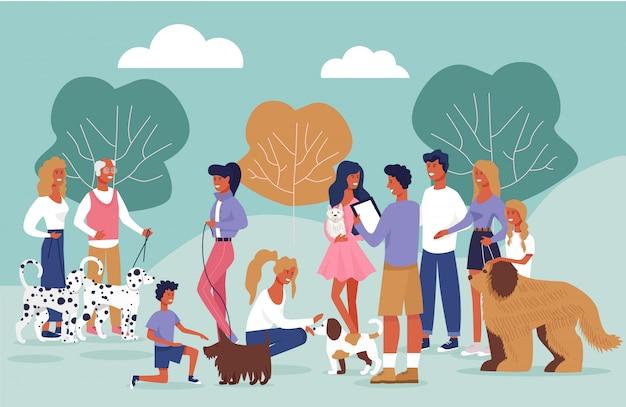 Affiche informative de dessin animé de réunion des propriétaires de chien. Vecteur Premium