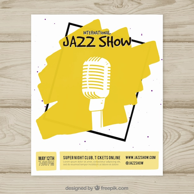 Affiche internationale de spectacle de jazz Vecteur gratuit
