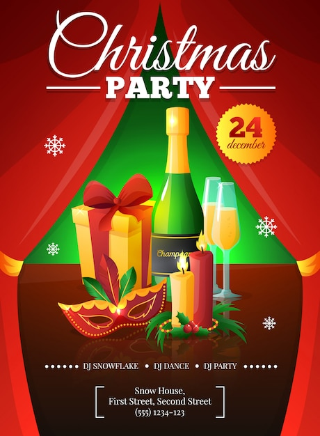 Affiche invitation de fête de noël avec des rideaux rouges présente des bougies masque au champagne Vecteur gratuit