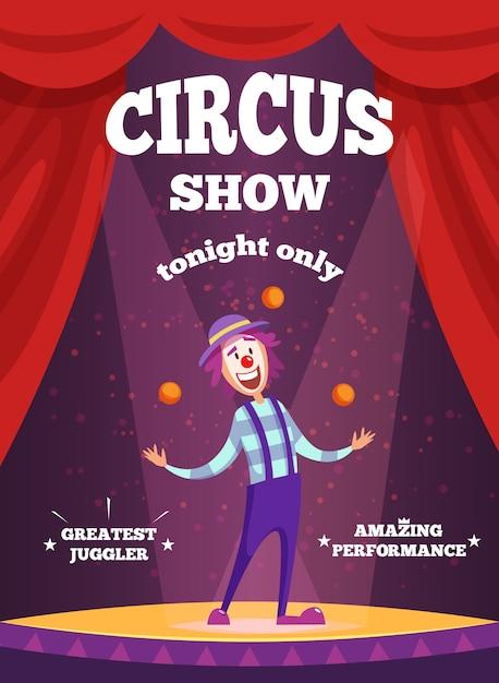 Affiche D'invitation à Un Spectacle De Cirque Ou à Un Spectacle De Magiciens Vecteur Premium